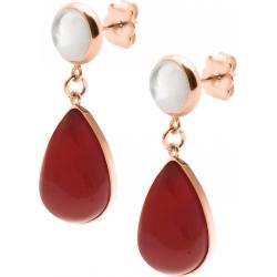 Boucles d'oreille acier rosé - goutte 18mmX13mm - nacre blanche et cornaline