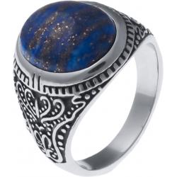Chevalière en acier homme - cabochon lapis lazuli 15x12mm - T54 à 70
