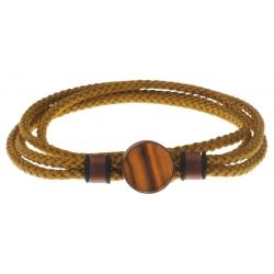 Bracelet double tour acier café - corde marron - œil de tigre 14mm - 41cm
