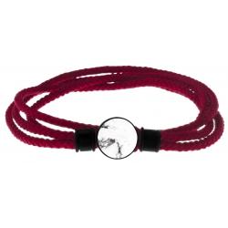 Bracelet double tour acier noir - corde rouge - howlite 14mm - 41cm