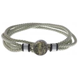 Bracelet double tour acier - corde gris clair vert - jaspe cezame 14mm - 41cm