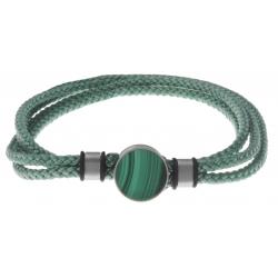 Bracelet double tour acier - corde verte - malachite 14mm - 41cm