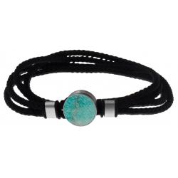 Bracelet double tour acier - corde noire - amazonite 14mm - 41cm