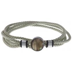 Bracelet double tour acier - corde gris clair vert - labradorite 14mm - 41cm