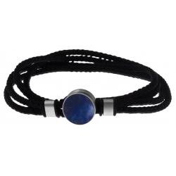 Bracelet double tour acier - corde noire - sodalite 14mm - 41cm