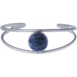 Bracelet jonc acier - 2 rangs - sodalite - cabochon 14mm - diamètre intérieur 58mm