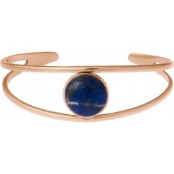 Bracelet jonc acier rosé - 2 rangs - lapis lazuli - cabochon 14mm - diamètre intérieur 58mm