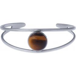 Bracelet jonc acier - 2 rangs - œil de tigre - cabochon 14mm - diamètre intérieur 58mm
