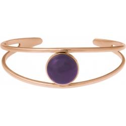 Bracelet jonc acier rosé - 2 rangs - améthyste - cabochon 14mm - diamètre intérieur 58mm