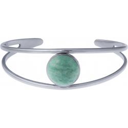 Bracelet jonc acier - 2 rangs - amazonite - cabochon 14mm - diamètre intérieur 58mm