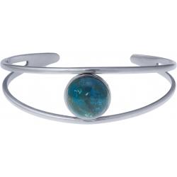 Bracelet jonc acier - 2 rangs - chrysocolle - cabochon 14mm - diamètre intérieur 58mm