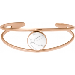 Bracelet jonc acier rosé - 2 rangs - howlite - cabochon 14mm - diamètre intérieur 58mm