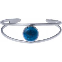 Bracelet jonc acier - 2 rangs - apatite - cabochon 14mm - diamètre intérieur 58mm