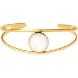 Bracelet jonc acier doré - 2 rangs - nacre blanche - cabochon 14mm - diamètre intérieur 58mm