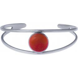 Bracelet jonc acier - 2 rangs - cornaline - cabochon 14mm - diamètre intérieur 58mm