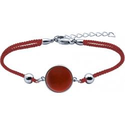 Bracelet en acier et coton rouge - cabochon cornaline - 11mm - 16+4cm