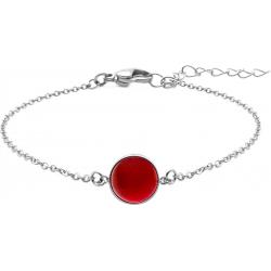 Bracelet en acier - cabochon cornaline - 11mm - 16+4cm