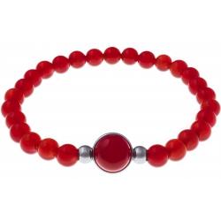 Bracelet élastique - billes cornaline 6mm - cabochon acier et cornaline 11mm - 18cm