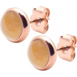 Boucles d'oreille en acier rosé - cabochon crazy lace agate 8mm