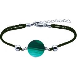 Bracelet acier - coton vert foncé - malachite - diamètre pierre 22mm - 16+4cm
