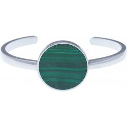Bracelet jonc acier - malachite - diamètre pierre 22mm - diamètre intérieur 58mm