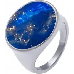 Bague acier - lapis lazuli - diamètre pierre 18mm -  T52 à T64
