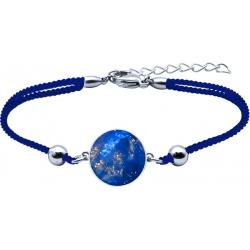 Bracelet acier - coton bleu foncé - lapis lazuli - diamètre pierre 22mm - 16+4cm