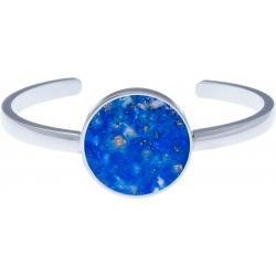Bracelet jonc acier - lapis lazuli - diamètre pierre 22mm - diamètre intérieur 58mm