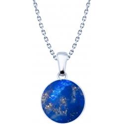 Collier acier  - lapis lazuli - diamètre pierre 25mm - 40+5cm