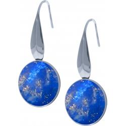 Boucles d'oreille acier - lapis lazuli - diamètre pierre 18mm