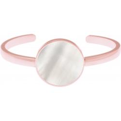 Bracelet jonc acier rosé - nacre blanche - diamètre pierre 22mm - diamètre intérieur 58mm