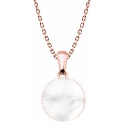 Collier acier rosé  - nacre blanche - diamètre pierre 25mm - 40+5cm