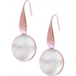 Boucles d'oreille acier rosé - nacre blanche - diamètre pierre 18mm