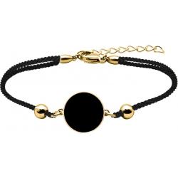 Bracelet acier doré - coton noir - onyx - diamètre pierre 22mm - 16+4cm