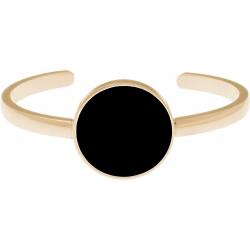 Bracelet jonc acier doré - onyx - diamètre pierre 22mm - diamètre intérieur 58mm