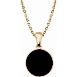 Collier acier doré  - onyx - diamètre pierre 25mm - 40+5cm