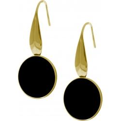Boucles d'oreille acier doré - onyx - diamètre pierre 18mm