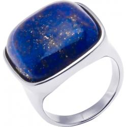 Bague acier - lapis lazuli - coussin 20x20mm - T52 à T64