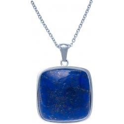 Collier acier - lapis lazuli - coussin 25x25mm - 45+5cm
