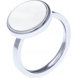 Bague acier - nacre blanche - diamètre 14 mm - T50 à 62