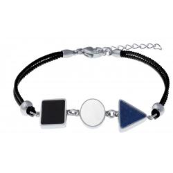 Bracelet acier - coton noir - carré onyx - rond nacre - triangle lapis lazuli - 16+4cm