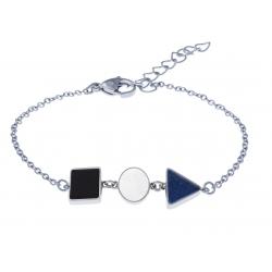 Bracelet acier  - carré onyx - rond nacre - triangle lapis lazuli - 16+4cm