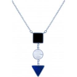 Collier acier  - carré onyx - rond nacre - triangle lapis lazuli - 40+5cm