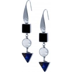 Boiucles d'oreille acier  - carré onyx - rond nacre - triangle lapis lazuli