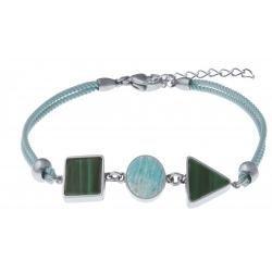 Bracelet acier - coton vert clair - carré malachite - rond amazonite - triangle malachite - 16+4cm