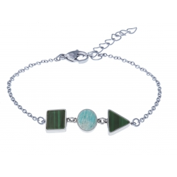 Bracelet acier  - carré malachite - rond amazonite - triangle malachite - 16+4cm