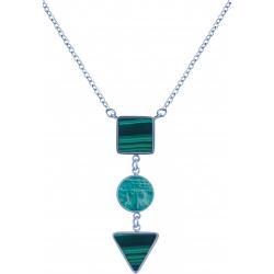 Collier acier  - carré malachite - rond amazonite - triangle malachite - 40+5cm