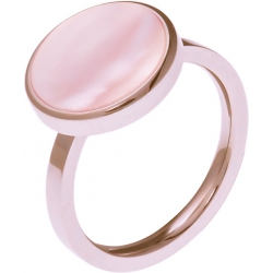 Bague acier rosé - nacre rose - diamètre 14 mm - T50 à 62