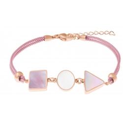 Bracelet acier rosé - coton rose - carré nacre blanche - rond nacre rose - triangle nacre blanche - 16+4cm
