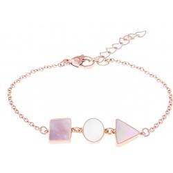 Bracelet acier rosé  - carré nacre blanche - rond nacre rose - triangle nacre blanche - 16+4cm